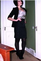 silver Express intimate - black vintage skirt - black vintage blazer - black HUE