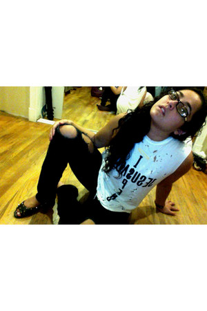 black ripped jeans - white muscle tee UNIF t-shirt