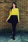 Chartreuse-shirt-black-patent-spring-shoes-black-pleated-h-m-skirt