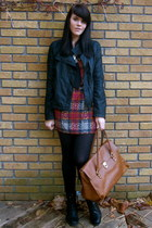 brick red plaid asos dress - black lace up Spring boots