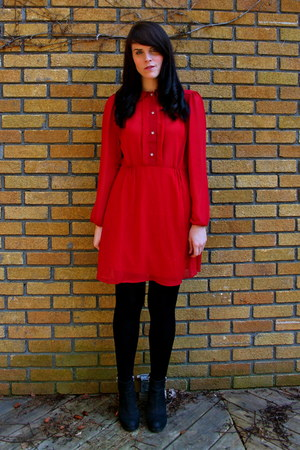 red asoscom dress - black Topshop shoes