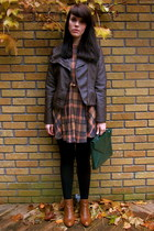 plaid asos dress - chelsea River Island boots - faux leather Forever 21 jacket