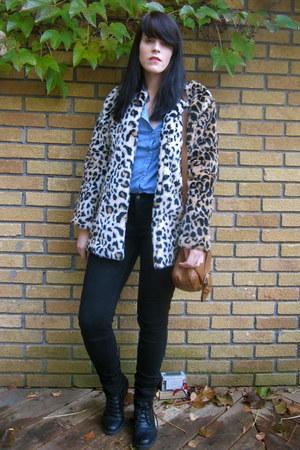 leopard print Forever 21 coat - black black unknown brand jeans