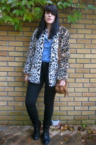 leopard print Forever 21 coat - black black unknown brand jeans