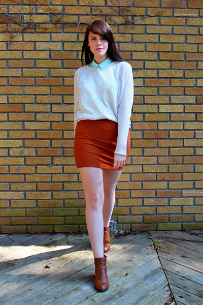 tawny Forever 21 skirt - burnt orange asos boots - gray Forever 21 coat