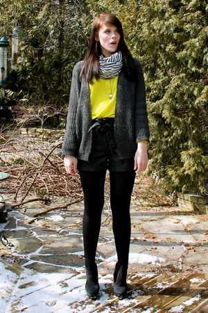 black H&M shoes - chartreuse shirt - navy striped American Apparel scarf