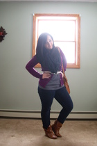 brown boots - black scarf - purple Old Navy cardigan - gray Old Navy t-shirt - w