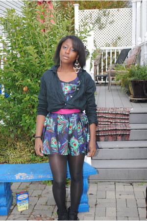 black booties boots - peacock feather dress dress - black linen shirt shirt - bl