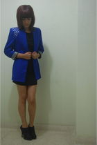 blue AUTFIT blouse - black Basement dress - black Marquis shoes