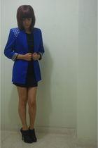 blue AUTFIT blouse - black Basement dress - black Marquis shoes