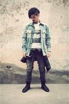 black Kr3w boots - black Levis jeans - black AUTFIT jacket - white AUTFIT shirt