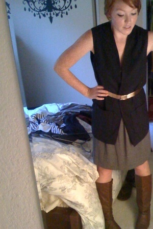 thifted vest - gold thrifted belt - Nordstrom dress - thrifted shoes
