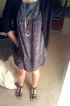 H&M gray label sweater - thrifted dress - Old Navy shoes - gold necklace