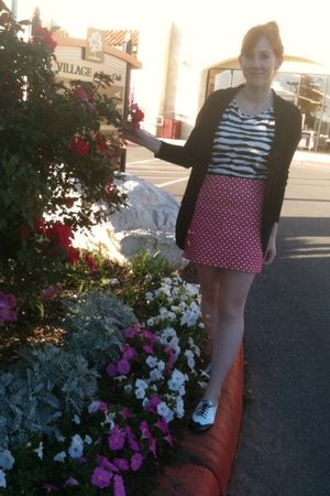 black Target cardigan - white Forever 21 t-shirt - pink thrifted skirt - black C