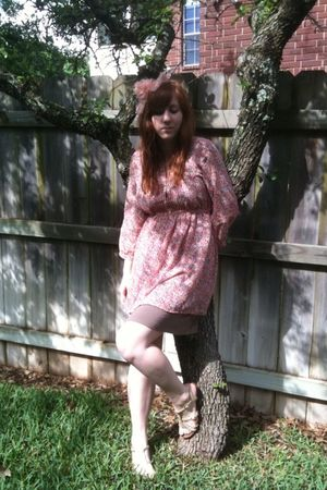 pink thrifted H&M dress - brown Forever 21 dress - gold Target shoes - beige For
