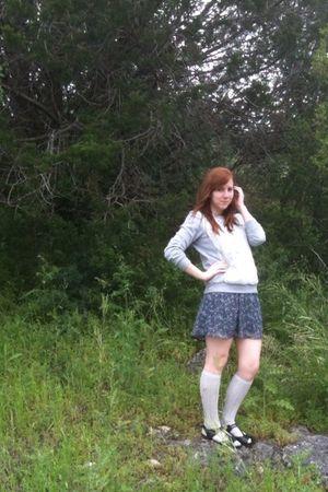 gray Forever 21 sweater - purple Charlotte Russe dress - gray Target socks - bla