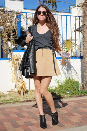 suede H&M skirt - studded Zara boots - Urban Outfitters top