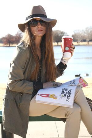 parka romwe jacket - fedora asoscom hat - leather pants Forever 21 leggings