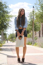 denim Forever 21 top - leather studs Romans 122 bag - leather Audrey shorts
