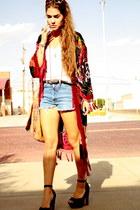 suede Steve Madden heels - kimono vintage jacket - cutoffs calvin klein shorts