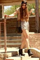 black sam edelman boots - camel suede crop H&M shirt - camel leopard silk Audrey