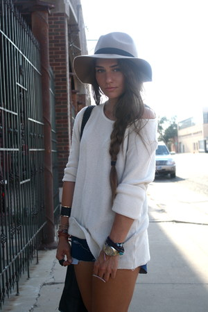 asos hat - Wrangler shorts - Urban Outfitters top