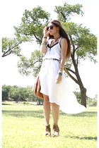 a-symmetrical Nasty Gal dress - studded Urban Outfitters belt - net Urban Outfit