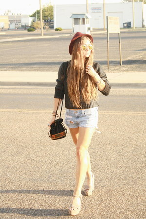 wax H&M sweater - burgundy Forever 21 hat - taupe Steve Madden wedges