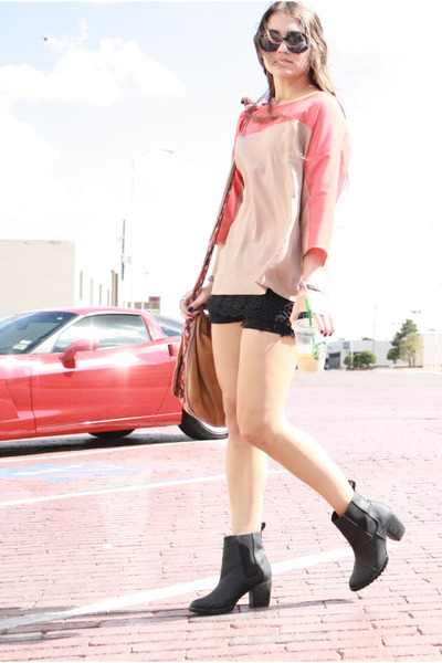 box top Loft shirt - leather H&M boots - crochet Urban Outfitters shorts