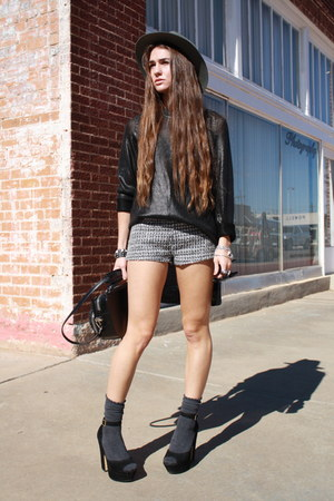 waxed H&amp;M sweater - LF hat - structured Alexander Wang bag - tweed H&amp;M shorts