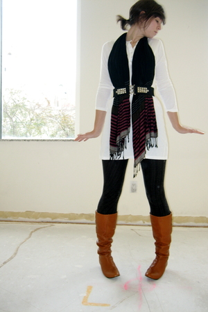 black UO scarf - black DIY studded belt - white American Apparel dress