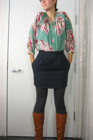 green Forever21 blouse - blue vintage skirt - gray random tights - brown Bakers