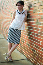 cream Skies are blue shirt - black stripes Old Navy skirt - beige Mia wedges