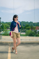 navy Old Navy jacket - pink Comme toi shirt - hot pink Steve Madden purse