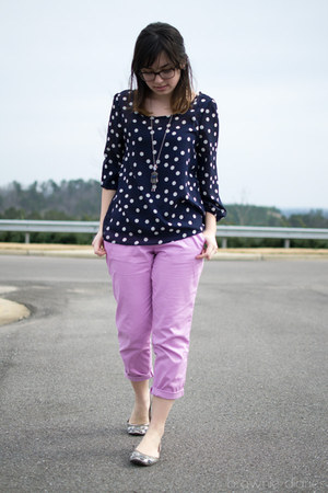 navy Peaches N Cream shirt - light purple Old Navy pants