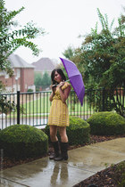 dark brown decree boots - light yellow stripes Ruche dress
