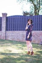 brown Steve Madden boots - navy polka dots everly dress