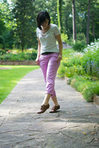 tawny Steve Madden shoes - ivory Mossimo shirt - light purple Old Navy pants