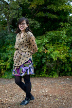camel modcloth shirt - amethyst Macys dress - black merona tights