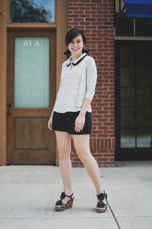 black Old Navy shorts - light pink lace Ruche shirt - aquamarine H&M cardigan