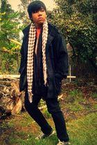 black Old Navy jacket - brown Oneil shirt - orange t-shirt - black jeans 149fe9df4