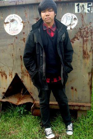 black Old Navy coat - black American Eagle sweater - red Chor shirt - black Soci