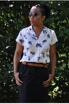 thrifted blouse - thrifted belt - Old Navy skirt