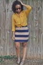 Brown-forever-21-shoes-gold-thrifted-shirt-navy-h-m-skirt