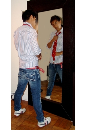 American Eagle shirt - rock and republic tie - dylan george jeans - Gola shoes -