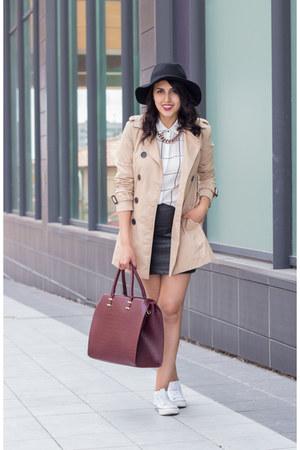 black H&M skirt - tan Stradivarius coat - black Stradivarius hat