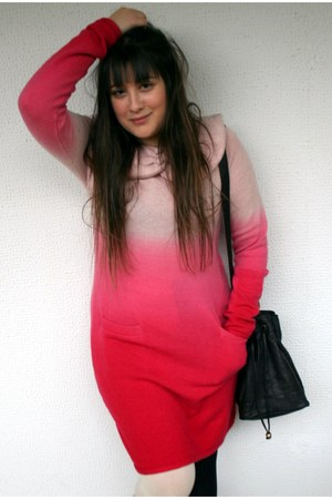 pink wool Manoush dress - American Apparel tights - black leather Topshop bag