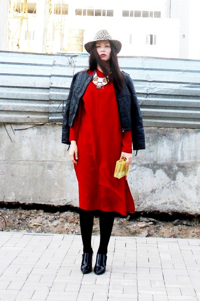 red Indian blouse dress - nude Topshop hat - black Zara jacket