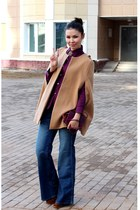 camel Zara cape - bronze boots - navy H&M jeans - magenta Baekgaard bag