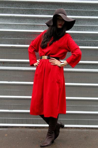 no brand dress - H&M hat - leather Fendi belt